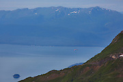 Paraglider viewed from Mount Stroller White above the Mendenhall Glacier, Tongass National Forest, Alaska.