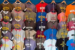 Souvenir T-shirt for sale in bohemian Prenzlauer Berg district of Berlin Germany