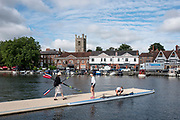 Henley-on-Thames. United Kingdom.  Women's  Double Sculls, Hollandia Roeiclub Netherlands, Boating for their heat at the 2017 Henley Royal Regatta, Henley Reach, River Thames. <br /> <br /> <br /> 09:06:05  Friday  30/06/2017   <br /> <br /> [Mandatory Credit. Peter SPURRIER/Intersport Images.