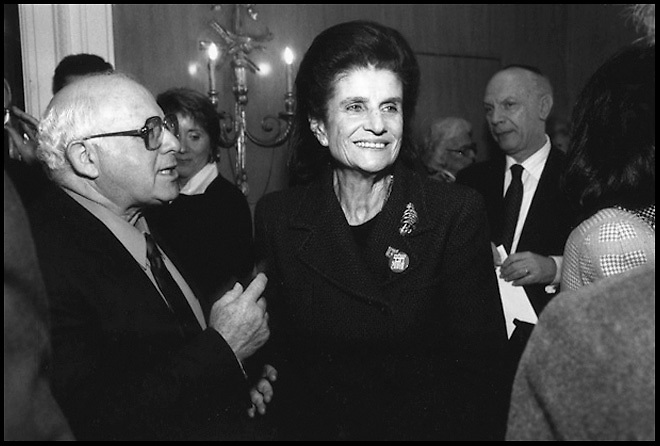 Leah Rabin attends a meeting in New York, NY shortly after the assassination of her husband, Israeli Prime Minister Yitzhak Rabin,  in 1995.