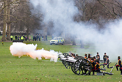 © Licensed to London News Pictures. 06/02/2018. London, UK. The King's Troop Royal Horse Artillery in full dress uniform ride out from Wellington Barracks into Green park to perform a 41-gun royal gun salute, to celebrate Queen Elizabeth II's accession to the throne. Photo credit : Tom Nicholson/LNP