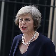 London,England,UK, 13th July 2016 : New British PM Theresa May arrives in Downing Street at No 10 Downing Street, London, UK. Photo by See Li
