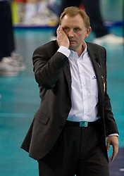 Coach of Belchatow Jacek Nawrocki at 1st Semifinal match of CEV Indesit Champions League FINAL FOUR tournament between PGE Skra Belchatow, Poland and Dinamo Moscow, Russia, on May 1, 2010, at Arena Atlas, Lodz, Poland. (Photo by Vid Ponikvar / Sportida)