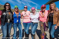 Laura Klock, Sara Shope, Jeri Buckingham, Cat Hammes, Diva Amy and Valerie Thompson during her Helping with Horsepower Ride on Wednesday of Arizona Bike Week 2014. USA. April 3, 2014.  Photography ©2014 Michael Lichter.