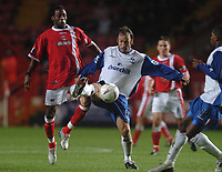 Credit: Back Page Images. Charlton Athletic v Crystal Palace, Carling Cup, 27/10/2004. Shaun Derry (Crystal Palace) Jason Euell (Charlton)