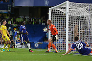 Victor Moses of Chelsea scores his sides 2nd goal of the match to make it 2-0. EFL Cup 2nd round match, Chelsea v Bristol Rovers at Stamford Bridge in London on Tuesday 23rd August 2016.<br /> pic by John Patrick Fletcher, Andrew Orchard sports photography.