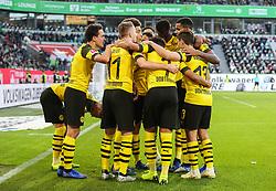 WOLFSBURG, Nov. 4, 2018  Dortmund's players celebrate during a German Bundesliga match between VfL Wolfsburg and Borussia Dortmund in Wolfsburg, Germany, on Nov. 3, 2018. Dortmund won 1-0. (Credit Image: © Xu Zijian/Xinhua via ZUMA Wire)