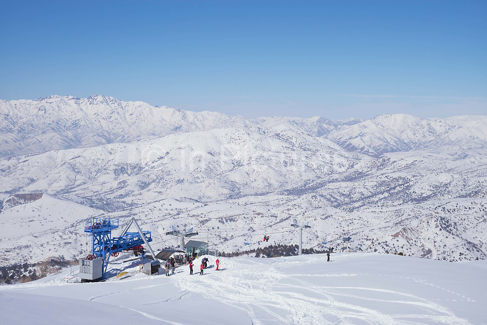 Over looking Beldersay ski resort from Mount Kumble on 26th February 2014 in Uzbekistan.