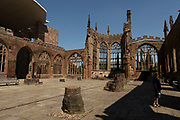 Exterior of Coventry Cathedral also known as St Michaels, a 14th-century Gothic church, on 23rd June 2021 in Coventry, United Kingdom. The Cathedral Church of Saint Michael, commonly known as Coventry Cathedral, is the seat of the Bishop of Coventry and the Diocese of Coventry within the Church of England. The cathedral lies in ruins and remains a ruined shell after its bombing during the Second World War.