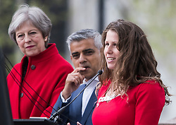 © Licensed to London News Pictures. 24/04/2018. London, UK. British Prime Minister Theresa May, Mayor of London Sadiq Khan and Campaigner Caroline Criado-Perez (right), attend the unveiling of a statue of Millicent Fawcett in Parliament Square, London. Dame Millicent, a leading Suffragist and campaigner for equal rights for women, is the first woman to be commemorated with a statue in Parliament Square. Photo credit: Ben Cawthra/LNP