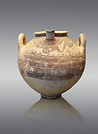 Mycenaean spouted clay pithos decorated with spirals and bands, Grave VI, Grave Circle A, Mycenae 16-15 Cent BC. National Archaeological Museum Athens. Cat No 8580.  Grey Background .<br /> <br /> If you prefer to buy from our ALAMY PHOTO LIBRARY  Collection visit : https://www.alamy.com/portfolio/paul-williams-funkystock/mycenaean-art-artefacts.html . Type -   Athens    - into the LOWER SEARCH WITHIN GALLERY box. Refine search by adding background colour, place, museum etc<br /> <br /> Visit our MYCENAEN ART PHOTO COLLECTIONS for more photos to download  as wall art prints https://funkystock.photoshelter.com/gallery-collection/Pictures-Images-of-Ancient-Mycenaean-Art-Artefacts-Archaeology-Sites/C0000xRC5WLQcbhQ