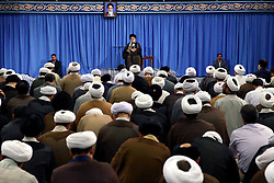 """Iranian Supreme Leader Ayatollah Ali Khamenei speaks at a meeting in Tehran, Iran, Tuesday, September 12, 2017. Khamenei called the killing of Rohingya Muslims a political disaster for Myanmar and also urged other Muslim countries to """"increase political, economic and commercial pressures"""" on Myanmar to stop the violence. Photo by Parspix/ABACAPRESS.COM"""