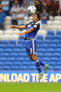 Cardiff City's Fabio Da Silva heads away. Skybet football league championship match, Cardiff city v Wolverhampton Wanderers at the Cardiff city stadium in Cardiff, South Wales on Saturday 22nd August 2015.<br /> pic by Carl Robertson, Andrew Orchard sports photography.
