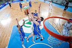 Zygimantas Skucas of Lithuania vs Hugo Invernizzi of France during basketball match between National teams of Serbia and Spain in Final match of U20 Men European Championship Slovenia 2012, on July 22, 2012 in SRC Stozice, Ljubljana, Slovenia. (Photo by Matic Klansek Velej / Sportida.com)