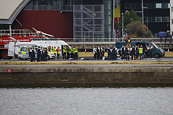 September 6, 2016 - London, London, UK - London, UK. Protestors from the Black Lives Matter group are seen on the runway at London City Airport.  All flights in and out of the airport are disrupted. (Credit Image: © Tolga Akmen/London News Pictures via ZUMA Wire)