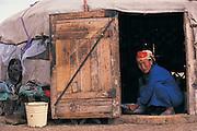 Preparing dough in ger<br /> near Erdenet<br /> Central Mongolia