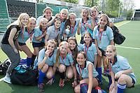AMSTELVEEN - NK Schoolhockey Meisjes Jong. Onze Lieve Vrouwe Lyceum (Breda)  - St Odulphus Lyceum (Tilburg)  2-0. Breda (licht blauw) wordt kampioen. FOTO KNHB / Koen Suyk