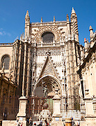 Detail of stonework of cathedral frontage,  Seville, Spain