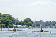 """Henley on Thames, United Kingdom, 3rd July 2018, Sunday,  """"Henley Royal Regatta"""",  Double Sculls Challenge Cup , Finalists, (Left) Bow Angus GROOM, Stroke Jack BEAUMONT GBR M2X, Leander Club,(Right) Bow Gary O'DONOVAN, Stroke Paul O'DONOVAN, IRL M2X, Skibbereen Rowing Club, the crews make their progress along the course, ,  View, Henley Reach, River Thames, Thames Valley, England, UK."""