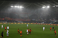 a general view of the game played in the wind and rainy conditions. The Emirates FA Cup, 3rd round replay match, Swansea city v Wolverhampton Wanderers at the Liberty Stadium in Swansea, South Wales on Wednesday 17th January 2018.<br /> pic by  Andrew Orchard, Andrew Orchard sports photography.