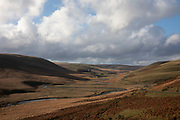 Landscape in the Elan Valley, Powys, Wales, United Kingdom. The Elan Valley Reservoirs are a chain of man-made lakes created from damming the Elan and Claerwen rivers within the Elan Valley in Mid Wales. The reservoirs provide clean drinking water for the West Midlands of England.
