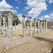 Courtyard columns at Chichen Itza. Yucatan, Mexico.