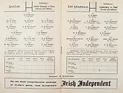 All Ireland Senior Hurling Championship Final,.Programme,.04.09.1955, 09.04.1955, 4th September 1955,.Galway 2-8, Wexford 3-13,.Minor Galway v Tipperary, .Senior Galway v Wexford,.Croke Park,..Galway Senior Team, T Boland, Goalkeeper, Lt J Fives, Right corner-back, B Power, Full-back, Lt W O'Neill, Left corner-back, M Burke, Right half-back, J Molloy, Centre half-back, T Kelly, Left half-back, J Salmon, Midfielder, W Duffy, Midfielder,  J Duggan, Captain, Right half-forward, Lt J Young, Centre half-forward, P Duggan, Left half-forward, P Egan, Right corner-forward, J Burke, Centre forward, T Sweeney, Left corner-foward, Substitutes, M Elwood, M Murphy, M Cullinane, P Manton, H Gordon,..Wexford Senior Team, A Foley, Goalkeeper, R Rackard, Right corner-back, N O'Donnell, Captain, Full-back, M O'Hanlon, Left corner-back, J English, Right half-back, W Rackard, Centre half-back, M Morrissey, Left half-back, J Morrissey, Midfielder, J Hearne, Midfielder, P Kehoe, Right half-forward, E Wheeler, Centre half-forward, P Kehoe, Left half-forward, T Ryan, Right corner-forward, N Rackard, Centre forward, T Flood, Left corner-forward, Substitutes, D Hearne, T Bolger, W Wickham, M Codd, T Dixon,..Advertisements, Irish Independent,