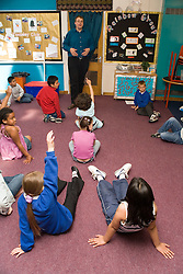 Teacher standing at front of classroom talking to group of school children,