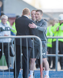 Falkirk's manager Gary Holt and Raith Rovers Player-Coach Grant Murray at the end.<br /> Falkirk 2 v 1 Raith Rovers, Scottish Championship game played today at The Falkirk Stadium.<br /> © Michael Schofield.
