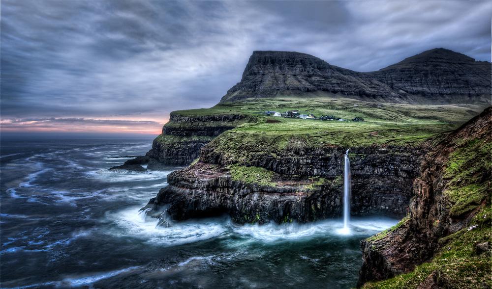 The waterfall at Gasadalur, Faroe Islands. Long exposure, bad weather