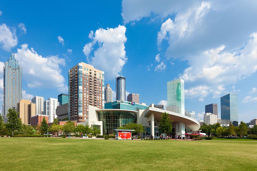 Atlanta, Georgia, United States - World of Coca Cola and skyline of buildings in downtown Atlanta.