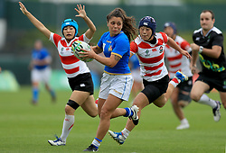 Italy's Maria Grazia Cioffi on the attck during the 2017 Women's World Cup, 9th Place Semi Final match at the Queen's University, Belfast.