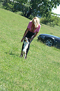 EXCLUSIVE<br /> <br /> Glamour model gran Sharon Perkins with 32MM breasts pictured in Bulgaria with her dogs as she takes a stroll in Bulgaria<br /> <br /> Photo shows: Sharon pictured walking her dogs in Bulgaria<br /> ©Exclusivepix Media