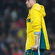 Quade Cooper, Australia, on crutches after injury during the Australia V Wales Bronze Final match at the IRB Rugby World Cup tournament, Auckland, New Zealand. 21st October 2011. Photo Tim Clayton...