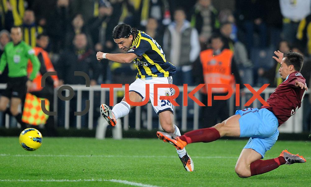 Fenerbahce's Mehmet Topuz (L) during their Turkish superleague soccer derby match Fenerbahce between Trabzonspor at the Sukru Saracaoglu stadium in Istanbul Turkey on Sunday 18 December 2011. Photo by TURKPIX