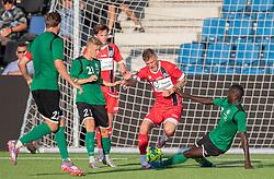 Teddy Bergqvist (FC Helsingør) tackles af Abdoulie Njai (Næstved Boldklub) under træningskampen mellem FC Helsingør og Næstved Boldklub den 19. august 2020 på Helsingør Stadion (Foto: Claus Birch).
