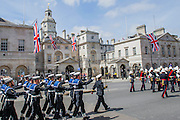 VE Day 70 commemorations -  marking historic anniversary of end of the Second World War in Europe. following a Service of Thanksgiving at Westminster Abbey, a parade of Service personnel and veterans and a flypast - down whitehall and into Horse Guards Parade.