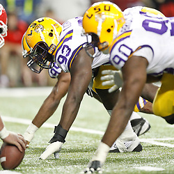 Dec 3, 2011; Atlanta, GA, USA; LSU Tigers defensive tackle Bennie Logan (93) lines up against the Georgia Bulldogs during the first half of the 2011 SEC championship game at the Georgia Dome.  Mandatory Credit: Derick E. Hingle-US PRESSWIRE