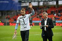 Fotball Tippeligaen Rosenborg - Aalesund<br /> 6 april 2015<br /> Lerkendal Stadion, Trondheim<br /> <br /> <br /> Petter Northug ble hedret for sin innsats i Falun i pausen. Til høyre : Bjørn Skjæran<br /> <br /> <br /> <br /> Foto : Arve Johnsen, Digitalsport