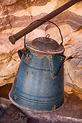 Bass's camp from the early 1900s features an old rusting teapot and other kitchenware. From Parkins Inscription Camp, we hiked North Bass Trail to Shinumo Creek. A dip in the rushing waters of Shinumo Creek refreshed us on an unusually hot April day. Parkins Inscription Camp is at Colorado River Mile 108.6 (measured downstream from Lees Ferry). Day 7 of 16 days rafting 226 miles down the Colorado River in Grand Canyon National Park, Arizona, USA.