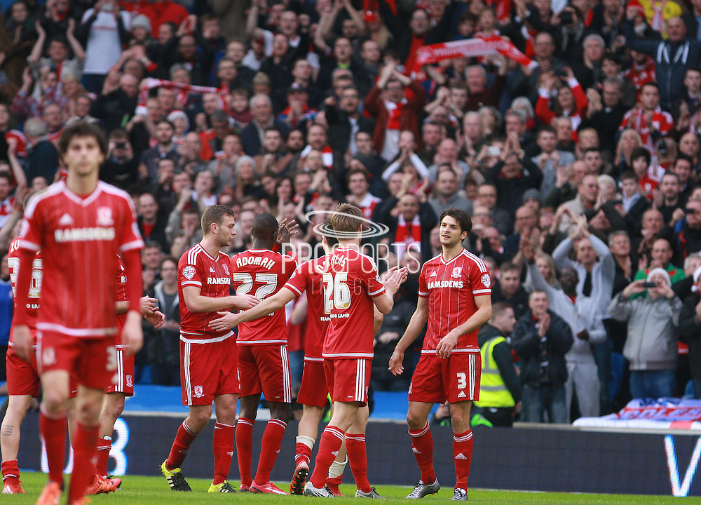 The Middlesbrough team celebrate in front of their fans at the final whistle of the Sky Bet Championship match between Brighton and Hove Albion and Middlesbrough at the American Express Community Stadium, Brighton and Hove, England on 19 December 2015. Photo by Bennett Dean.
