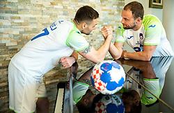 Luka Zvizej and Uros Zorman, former handball players of Slovenia posing for commercial of Rokometna simfonija 2019, on April 14, 2019, in Zrece, Slovenia. Photo by Vid Ponikvar / Sportida