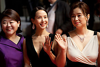 Lee Jung-Eun, Cho Yeo-Jeong and Chang Hyae-Jin at the Parasite gala screening at the 72nd Cannes Film Festival Tuesday 21st May 2019, Cannes, France. Photo credit: Doreen Kennedy