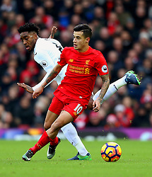 Philippe Coutinho of Liverpool and Leroy Fer of Swansea City - Mandatory by-line: Matt McNulty/JMP - 21/01/2017 - FOOTBALL - Anfield - Liverpool, England - Liverpool v Swansea City - Premier League