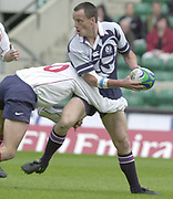 24/05/2002<br /> Sport - Rugby Union<br /> IRB World Sevens Series - Twickenham<br /> Scotland v France<br /> Scott Patterson, looks to lay the ball off,<br />    [Mandatory Credit, Peter Spurier/ Intersport Images]<br />    [Mandatory Credit, Peter Spurier/ Intersport Images]