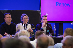 London, UK. 24th November, 2018. James Torrance, Annabel Mullin and James Clarke, Leaders and Deputy Leader of Renew UK, a new centrist political party launched in February 2018, answer questions at its inaugural National Assembly at Westminster Central Hall. Renew UK has signed up 100 candidates ready to stand in future UK elections based on a wide-ranging programme of reform.