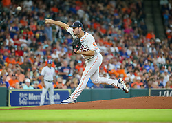 July 28, 2018 - Houston, TX, U.S. - HOUSTON, TX - JULY 28:  Houston Astros starting pitcher Justin Verlander (35) throws a pitch during the baseball game between the Texas Rangers and Houston Astros on July 28, 2018 at Minute Maid Park in Houston, Texas.  (Photo by Leslie Plaza Johnson/Icon Sportswire) (Credit Image: © Leslie Plaza Johnson/Icon SMI via ZUMA Press)