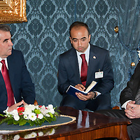 President of Tajikistan Emomali Rahmon (L) talks to his Hungarian counterpart Pal Schmitt (R) during a meeting in Budapest, Hungary on June 10, 2011. ATTILA VOLGYI.Emomali Rahmon is in Hungary fro a two-day official visit.