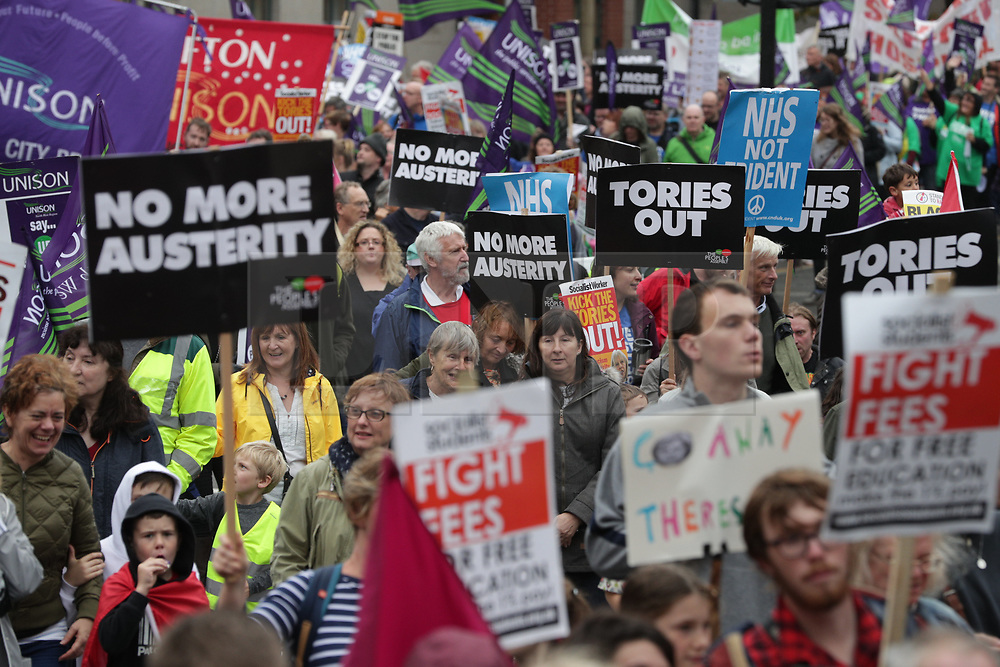 © Licensed to London News Pictures . 01/10/2017. Manchester, UK. Thousands attend a demonstration against the Conservative government in Manchester during the first day of the Conservative Party Conference at the Manchester Central Convention Centre . Photo credit: Joel Goodman/LNP