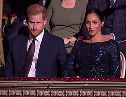 """Prince Harry and Meghan Markle attend the Premiere of Cirque Du Soleil: """"Totem"""" at The Royal Albert Hall, London, UK, on the 16th January 2019. Picture by Paul Grover/WPA-Pool. 16 Jan 2019 Pictured: Prince Harry, Duke of Sussex, Meghan Markle, Duchess of Sussex. Photo credit: MEGA TheMegaAgency.com +1 888 505 6342"""